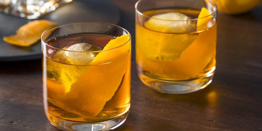 Old Fashioned Cocktail with Bourbon Whisky